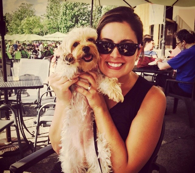 Emily Collins with her dog, Lula Mae, who's a Morkie (a mix between a Yorkie and a Maltese). Read more about how Lula Mae got her name below!
