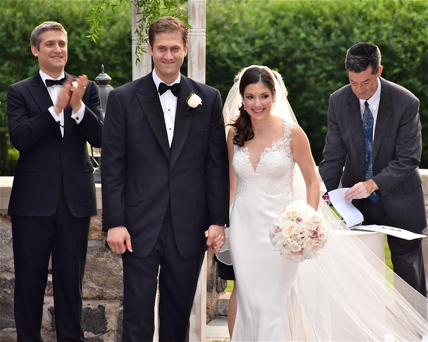 Amanda and Bart on their wedding day in Tarrytown, New York, on July 4, 2015.