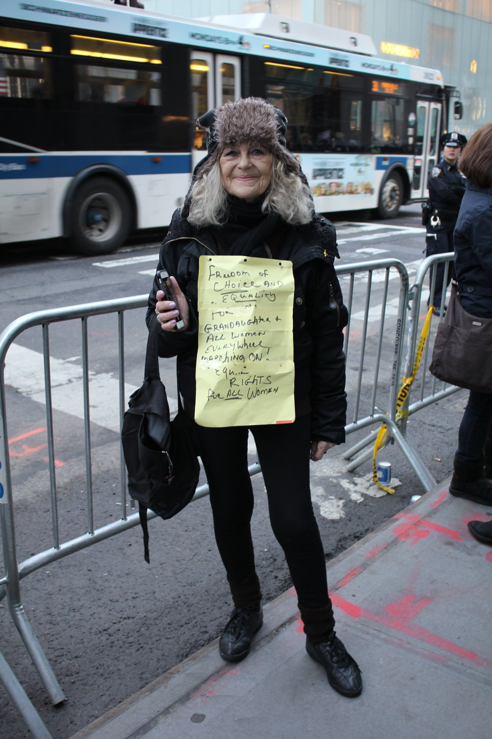 Anna with her self-made sign