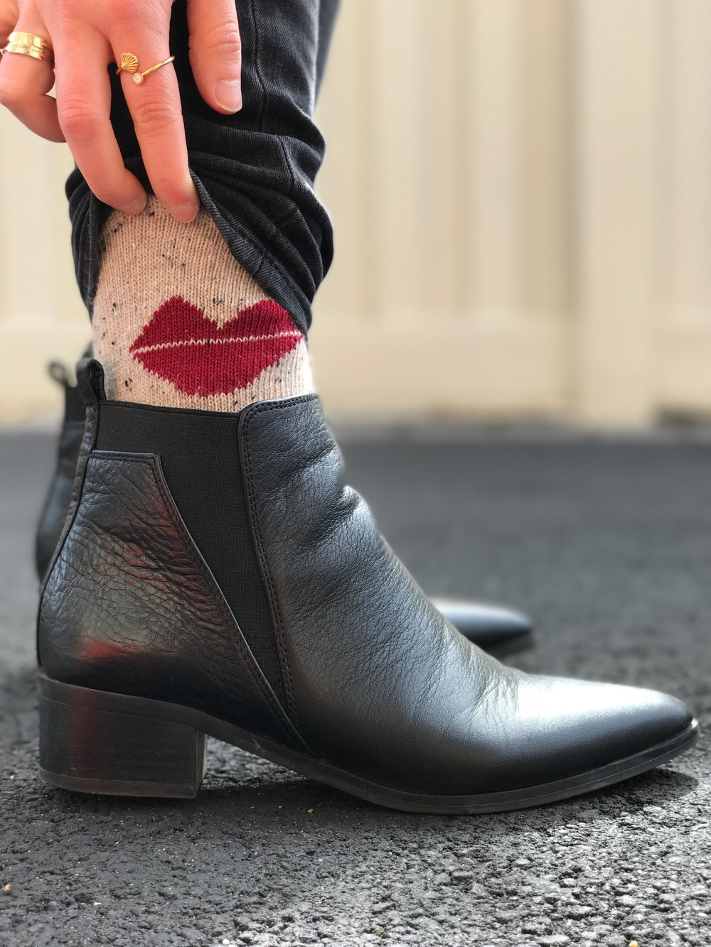 Marc Fisher boots ( similar ), Urban Outfitters  socks