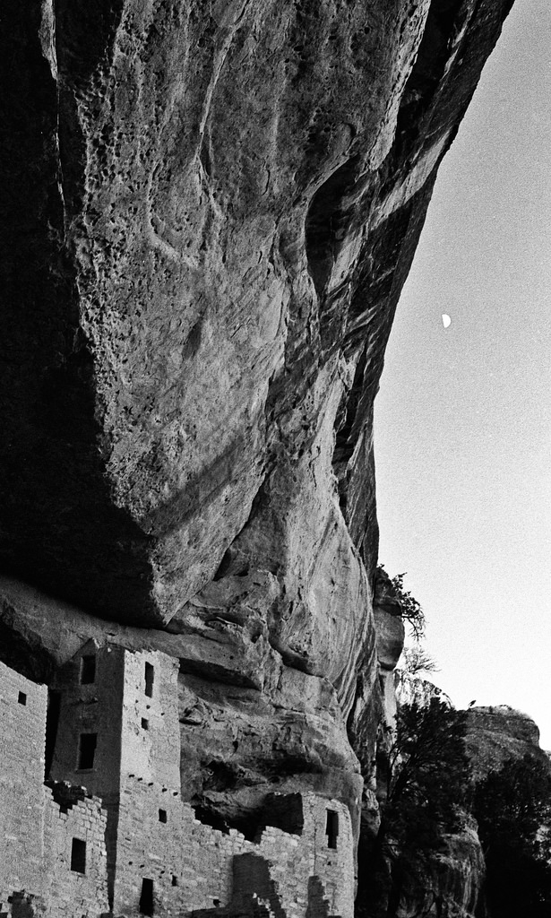 Moon over Cliff Palace, Mesa Verde National Park. Though a similar version appears on this website,  this 35mm frame highlights the cliff itself.