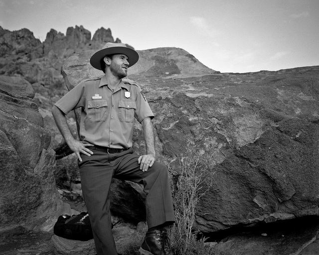 Rangers are a big part of what makes the National Parks great. Ranger Brian took us on an unforgettable sunrise hike to Balanced Rock. Mamiya RZ67, Kodak Tri-x film.