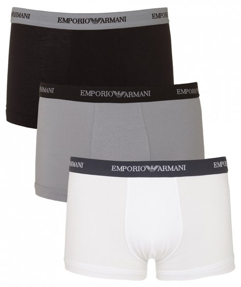 Emporio Armani 3 Pack Stretch Cotton Boxers have a square cut and sit low on the hip with a dual layer contoured pouch and a 3cm wide woven branded waistband. Available in 3 different colour combinations either all white, all black or a black/white and grey mix. £34.95.