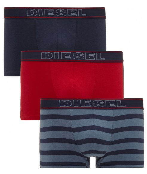 Diesel 3 Pack Red, Blue and Striped Boxer Trunks a great fun 3 pack from Italian design house Diesel. Each pack contains one solid red, a solid blue and a striped boxer.  All three have branded elasticated waistbands, square cut legs and a centre seamed soft supportive pouch. £26.21.