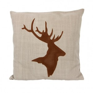 Big, linen cushion with original graphic of deer. Colour : beige. Removable pillowcase. Handcrafted in Poland. Stamped with Gie El logo.