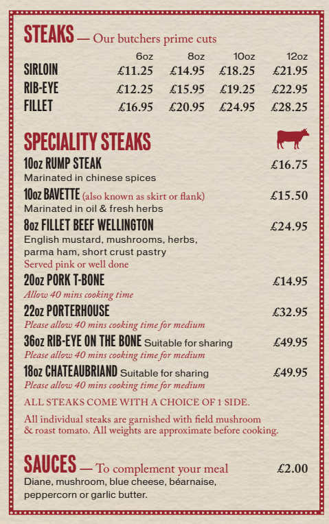 Middleton's Steak Menu is simply eye-watering, but there are other mains available too such as grills, fish dishes and burgers.