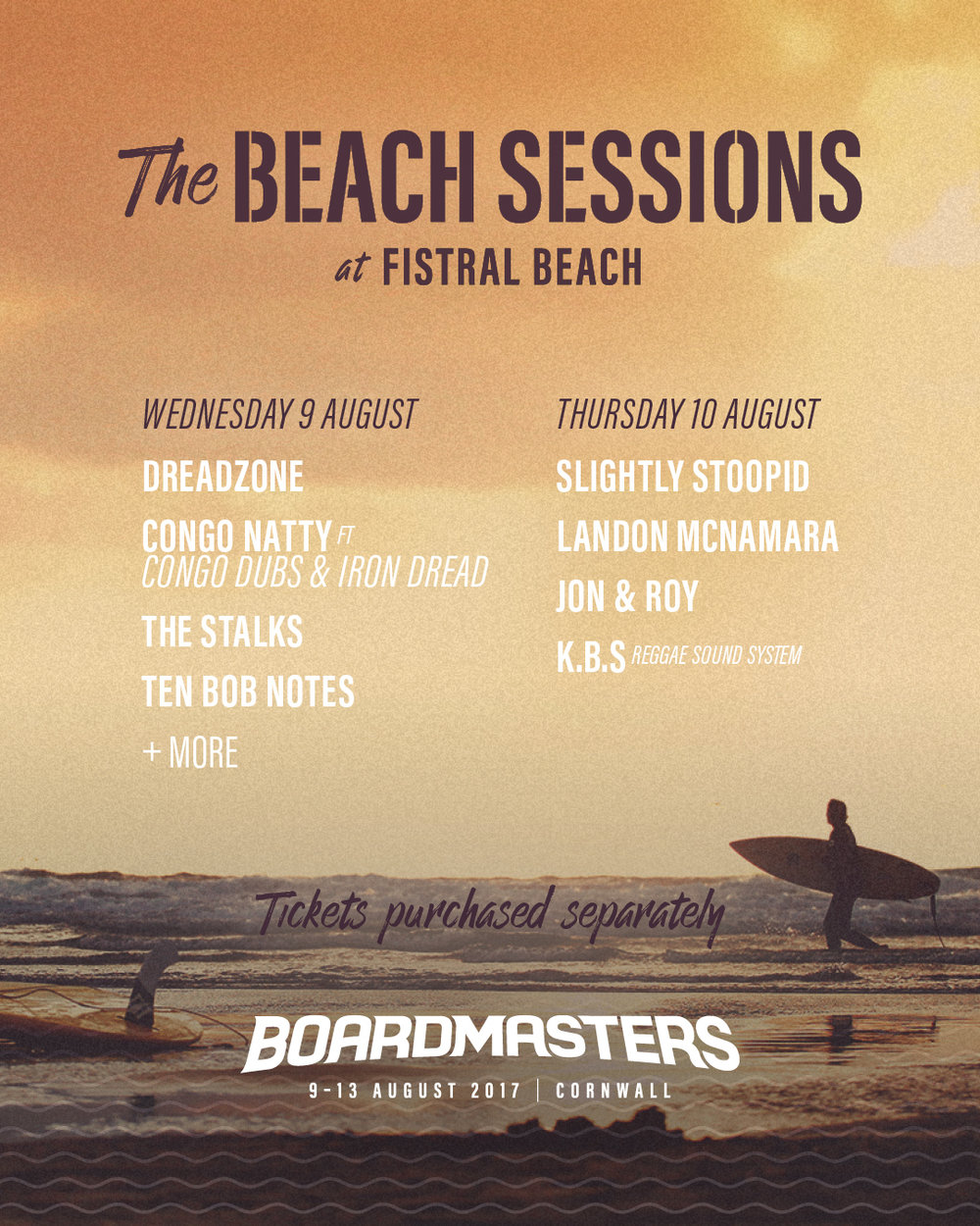 Boardmasters Beach sessions take place on the Wednesday and Thursday evenings