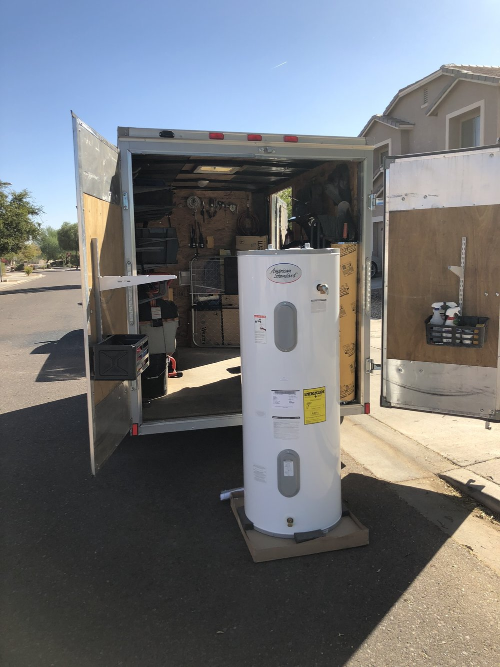 New water heater transported in our fully stocked trucks, ready for installation
