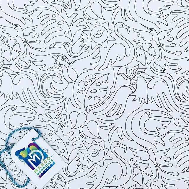 If you like coloring on your wall, this tropical bird coloring book pattern is available as Spoonflower wallpaper in my shop! #surfacedesigner #surfacedesign #patterndesign #surfacepatterndesign #textiledesign #fabricdesign #textiledesigner #fabricdesigner  #printandpatterndesign #patternillustration #spoonflower #society6 #tropical birds #coloring book