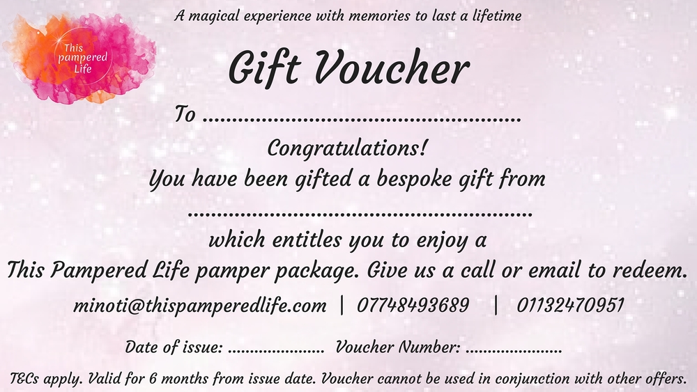 This Pampered Life Gift voucher