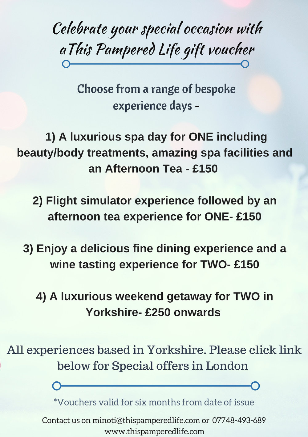 Special Offers- - Our gift vouchers are ideal to gift loved ones for Birthdays, anniversaries, weddings, baby showers or any other day you would like to celebrate!Our gift vouchers are valid for six months.What's more? The recipient chooses the experiences, date and time while we take care of all the planning and delivering.Have a look at our range of experience days on offer and drop us a line for more info :)We all know its experiences that makes any special occasion more memorable.Let's give someone special, the gift of creating memories!Get in touch with us today!
