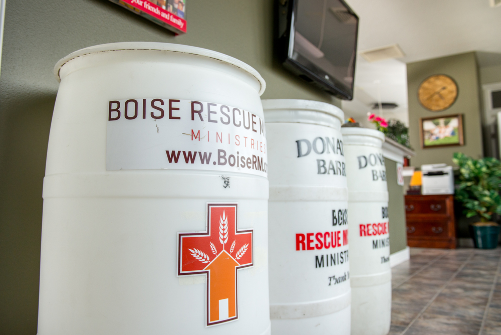 Food donation barrels located in the lobby