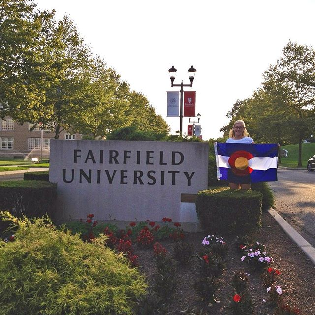 Morgan showing Colorado pride at Fairfield University 🎓 #TheCollegeDoctor