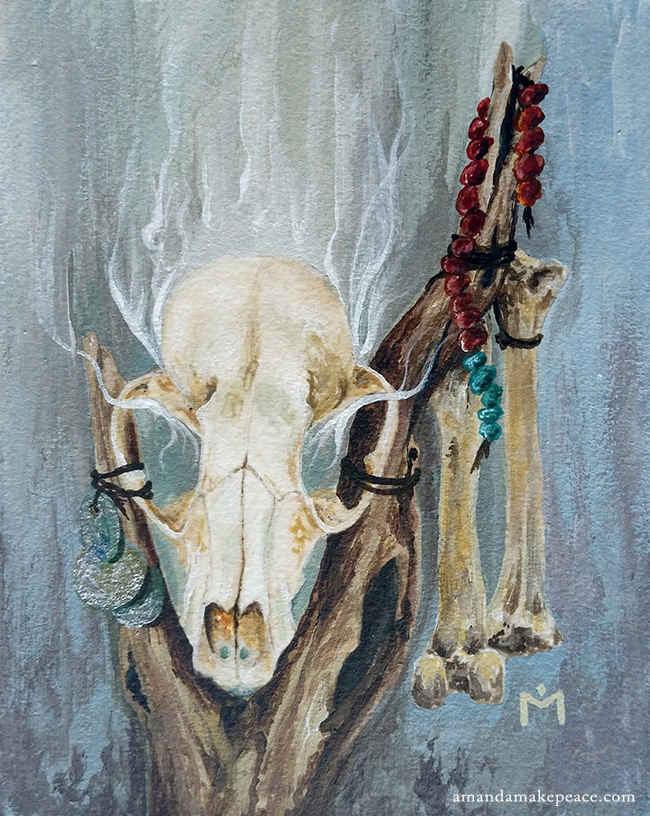 Bone Magic, acrylic, 4x5 inches