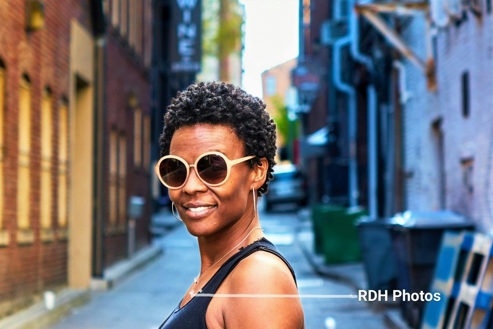 Rhynia's wife in downtown Memphis, Tennessee.