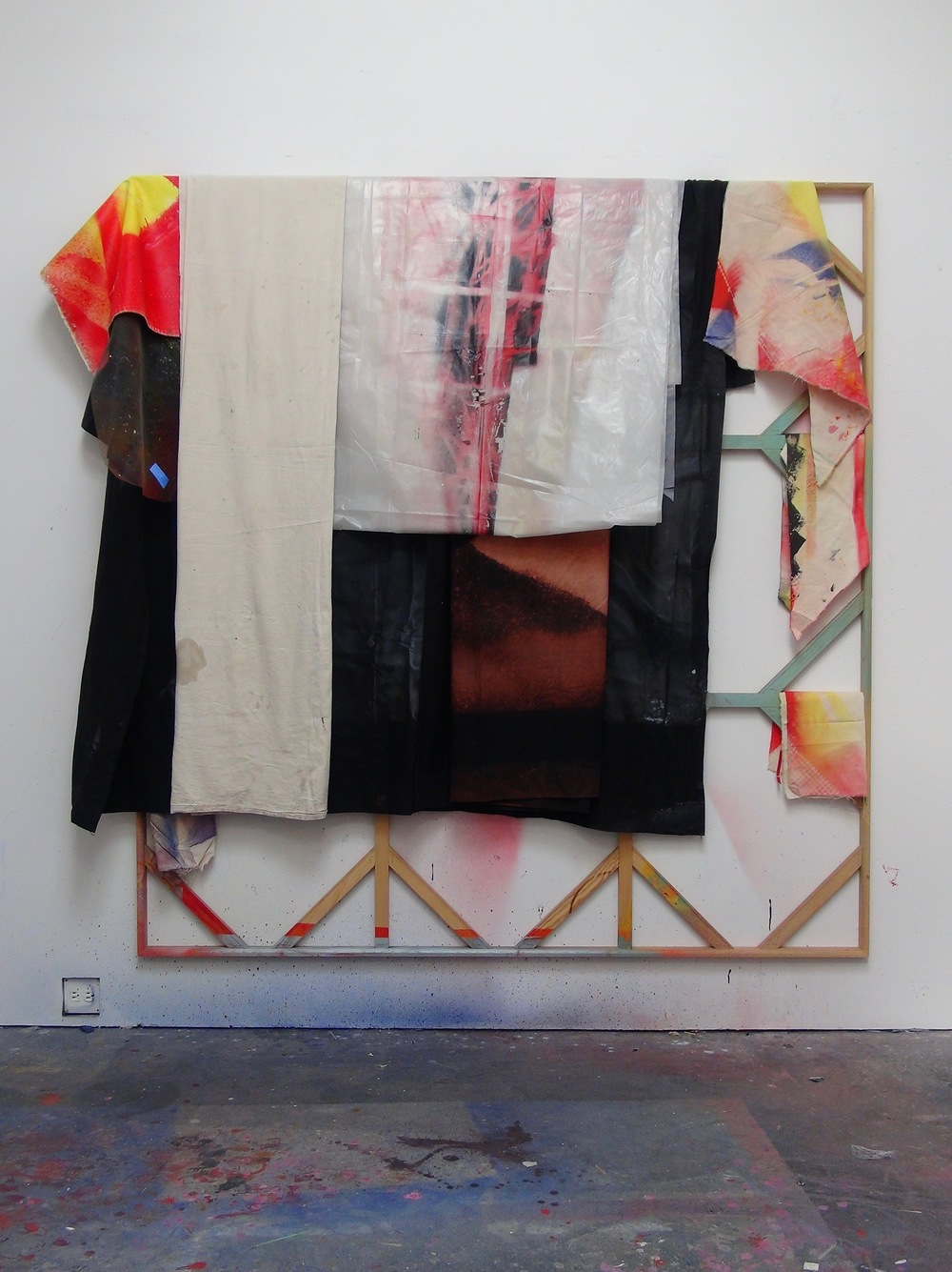 IAIN MUIRHEAD   1604  , 2016. Airborne pigment, acrylic binder, 10oz cotton duck canvas, gesso, nylon screen, black fabric bedsheet, bleach, dye, 4mil polyethylene sheeting, readymade poplar stretcher. 84 x 90 inches.