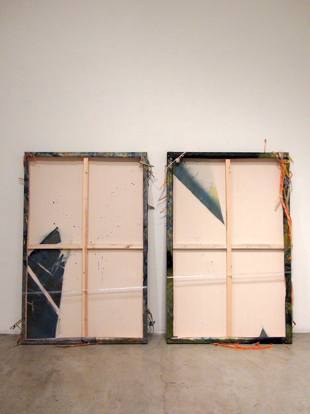 IAIN MUIRHEAD   1611-1612  , 2016. Airborne pigment, acrylic binder, 10oz cotton duck canvas, gesso, linear low density polyethylene (LLDPE), nylon monofilament, melamine, milled pine, 3mm staples, 16 gauge pneumatic nails. Diptych 65 x 41 inches each, 7 inches apart, wall leaning and away 10 inches at floor.