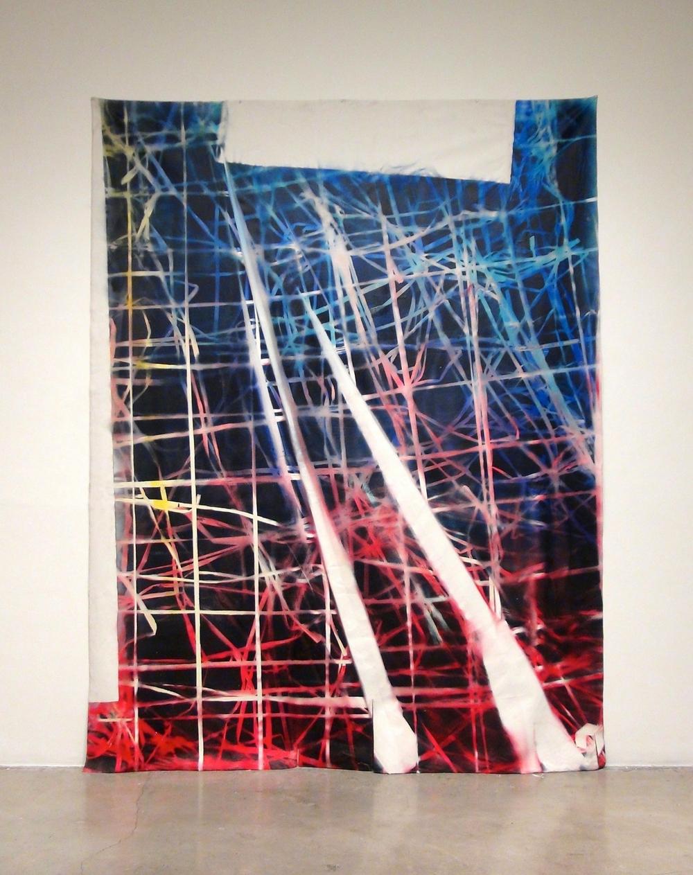 IAIN MUIRHEAD   1514  , 2015. Airborne pigment, acrylic binder, 10oz cotton duck canvas, white titanium gesso, milled pine, pushpins.125.5 x 96 inches.