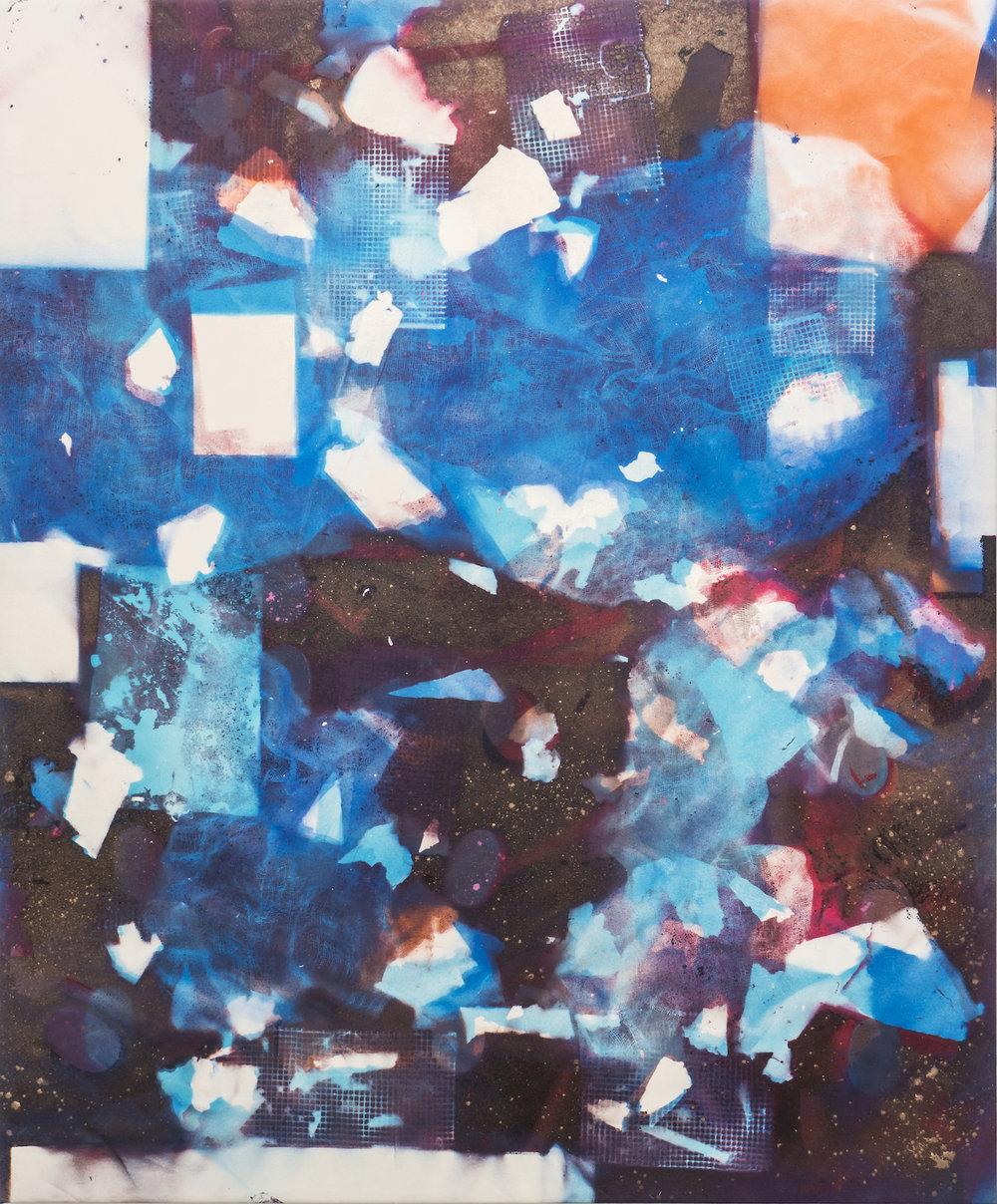 IAIN MUIRHEAD   1640  , 2016. Airborne pigment, acrylic binder, 10oz cotton duck canvas, white titanium gesso on verso,milled pine, 3mm staples, #8 screws. 95 x 77 inches.