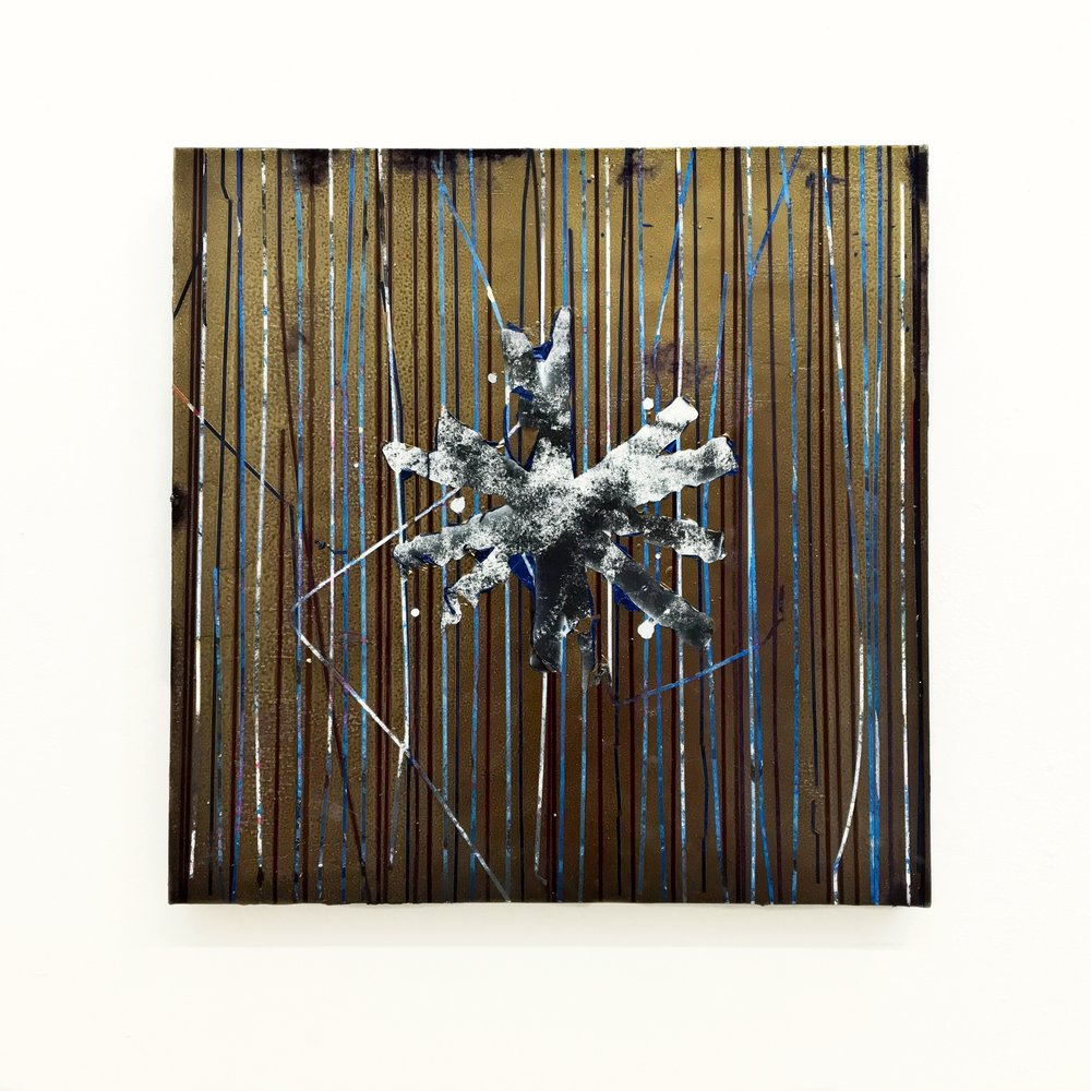 IAIN MUIRHEAD   1629  , 2014-2016. Oil, airborne pigment, acrylic binder,10oz cotton duck canvas, white titanium gesso, milled pine, lauan plywood,3mm staples, 16 gauge pneumatic nails. 23 x 23 inches.