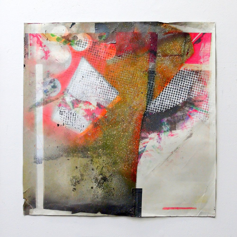 IAIN MUIRHEAD   1615  , 2015-2016. Airborne pigment, acrylic binder, ultraviolet ink, smooth bristol paper,duct tape, nylon monofilament. Paper: 36 x 36 inches.