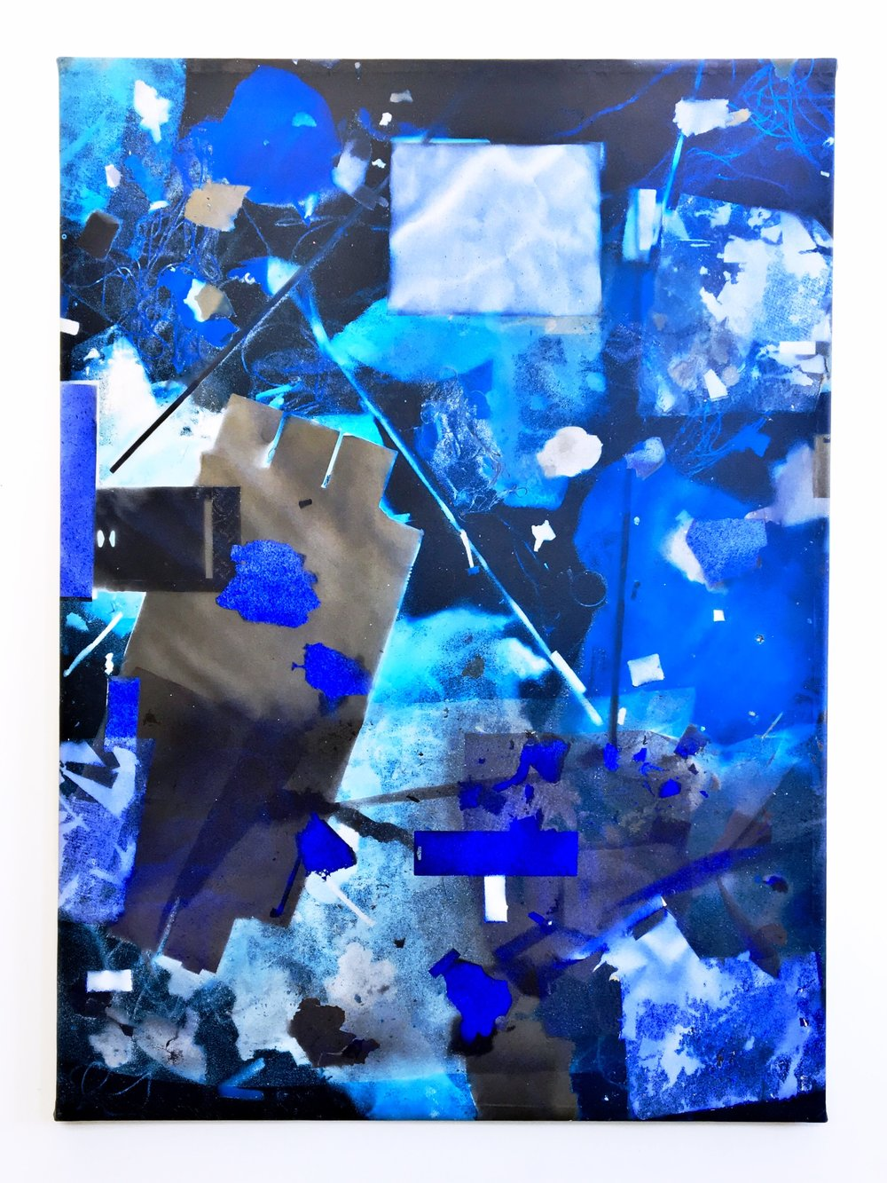 IAIN MUIRHEAD   1725  , 2017. Airborne pigment, acrylic binder, 10oz cotton duck canvas, white titanium gesso, milled pine, 3mm staples, #8 screws. 93.5 x 68 inches.