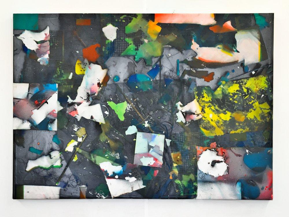 IAIN MUIRHEAD   1703  , 2017. Airborne pigment, acrylic binder, 10oz cotton duck canvas, white titanium gesso, milled pine, 3mm staples, #8 screws. 45.5 x 64 inches.