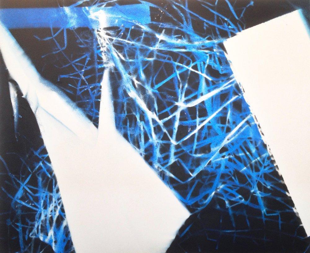 IAIN MUIRHEAD   1516  , 2015. Airborne pigment, acrylic binder, 10oz cotton duck canvas, white titanium gesso, milled pine, 3mm staples, #8 screws. 73.5 x 89.5 inches.