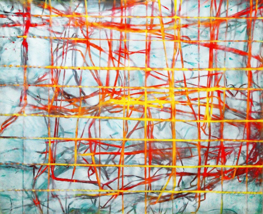 IAIN MUIRHEAD   1515  , 2015. Airborne pigment, acrylic binder, 10oz cotton duck canvas, white titanium gesso, milled pine, 3mm staples, #8 screws. 89 x 111 inches.