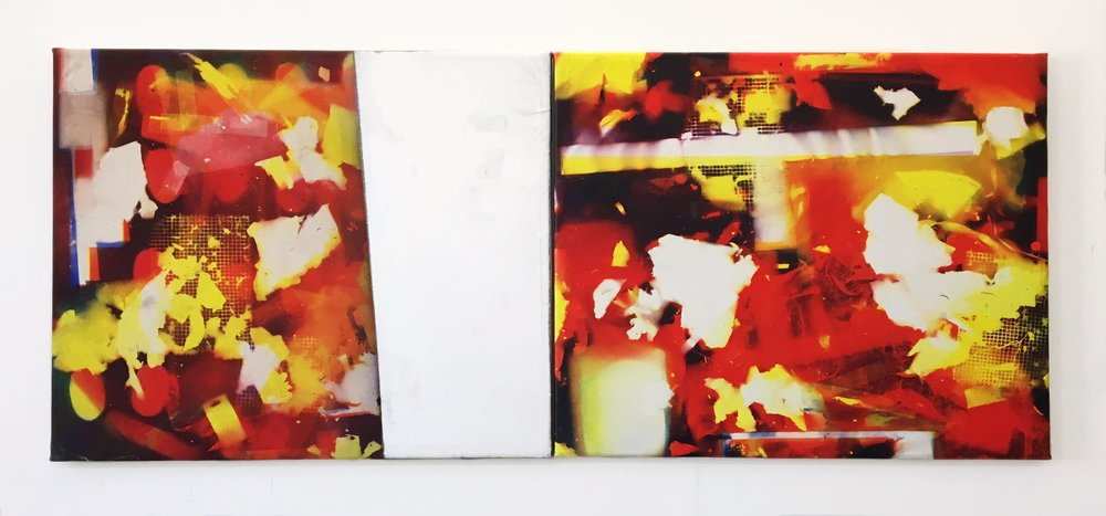 IAIN MUIRHEAD   1723 and 1724  , 2017. Airborne pigment, acrylic binder, 10oz cotton duck canvas, white titanium gesso, milled pine, 3mm staples, #8 screws. Diptych 46 x 112 inches.