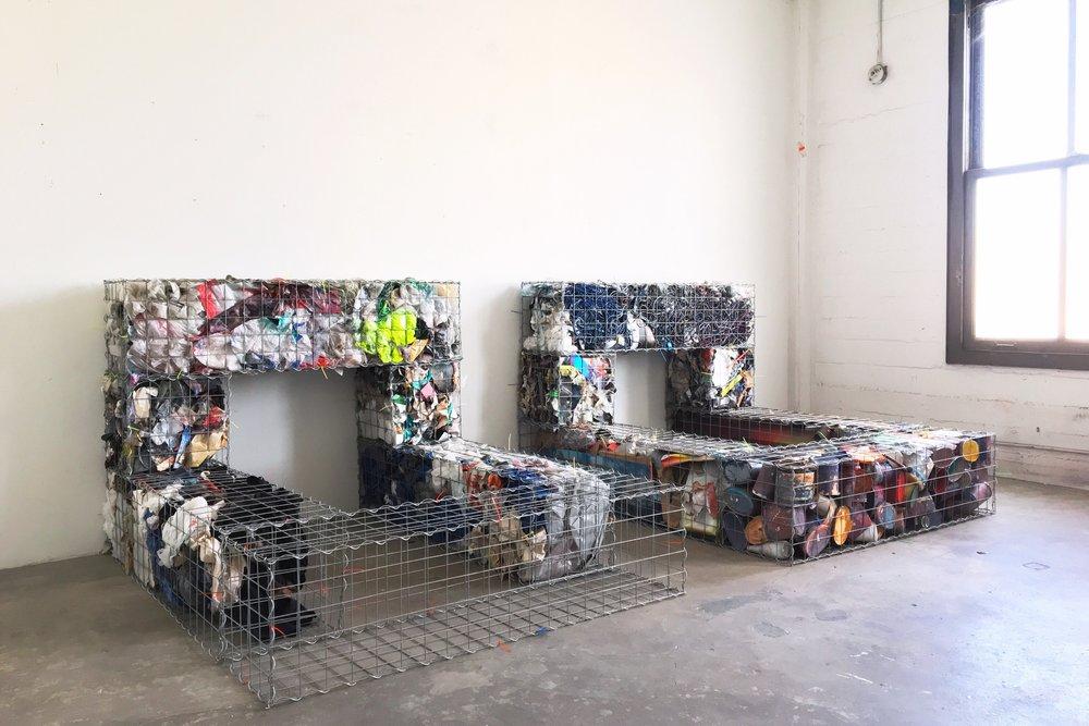 IAIN MUIRHEAD   1726:1737  , 2014-2017. Gabion baskets, zip ties, aggregate studio material. Diptych 45 x 60 x 75 inches each.