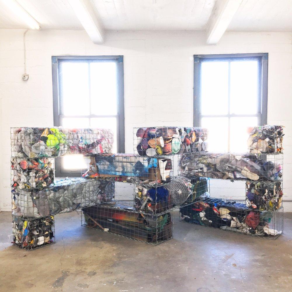 IAIN MUIRHEAD   1726:1737  , 2014-2018. Gabion baskets, zip ties, aggregate studio material. 60 x 120 x 30 inches.