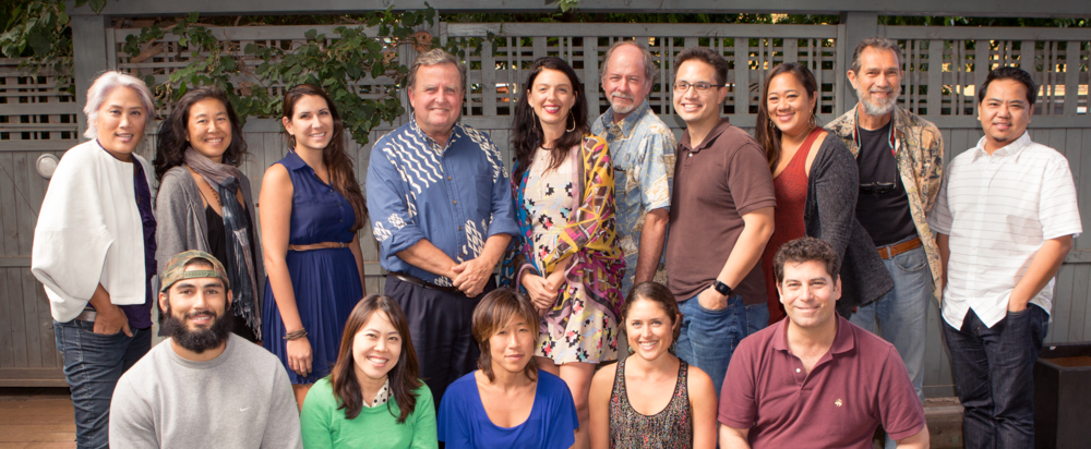 HAPA Board Members, December 2014.  Missing from photo are new Members, Kekaulike Prosper Tomich, Leslie Malulani Miki, Kaleikoa Kaʻeo, Michael Miranda, Pualiʻiliʻimaikalani Rossi-Fukino & Nancy Aleck. Included are also in this photo are former board members, Joshua Mori & Mālia Chun.   Photo: Courtesy of Natalie Brown Photography.