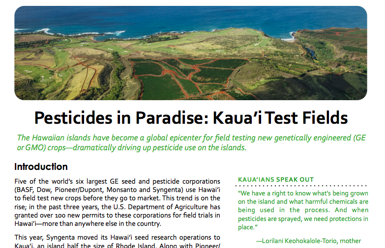 """Pesticide Action Network, """"Pesticides in Paradise"""" Report"""