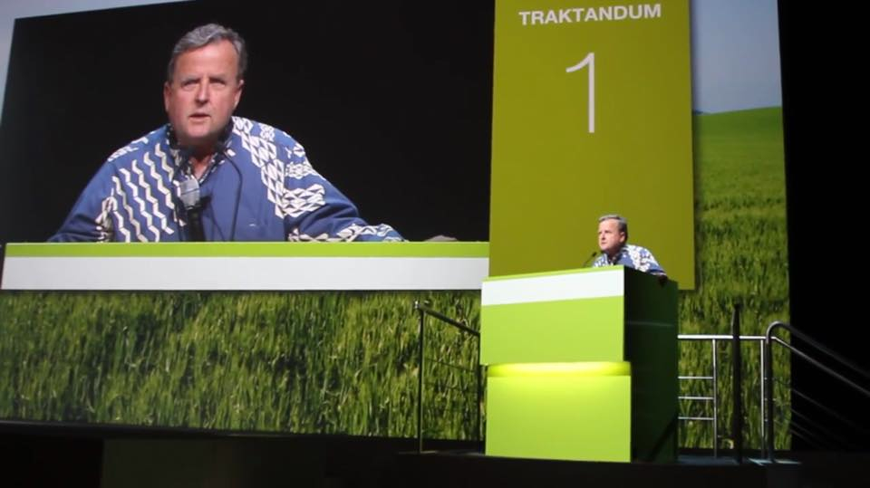 HAPA President Gary Hooser addresses Syngenta shareholders at their annual Shareholder Meeting in Basel Switzerland.