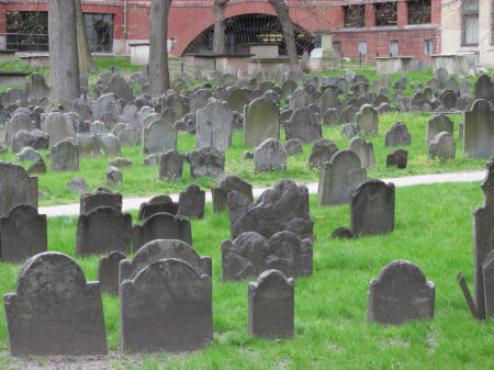 A very historical graveyard that is the final resting place of the Boston massacre victims, Samuel Adams, Paul Revere, and others.