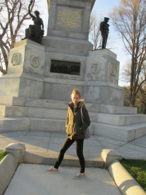 Lisa interacting with the Civil War monument.