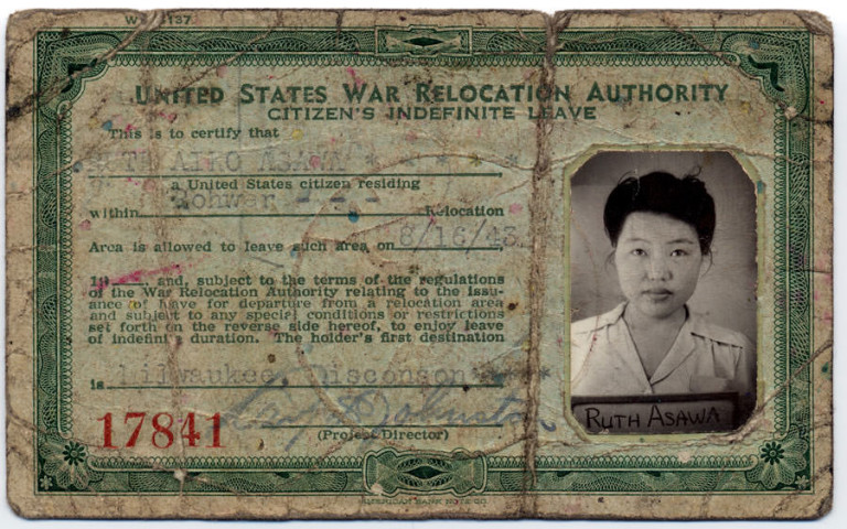 Asawa's ID that allowed her to leave Rohwer. This ID is now part of the Smithsonian's National Portrait Gallery collection.    Link to Source