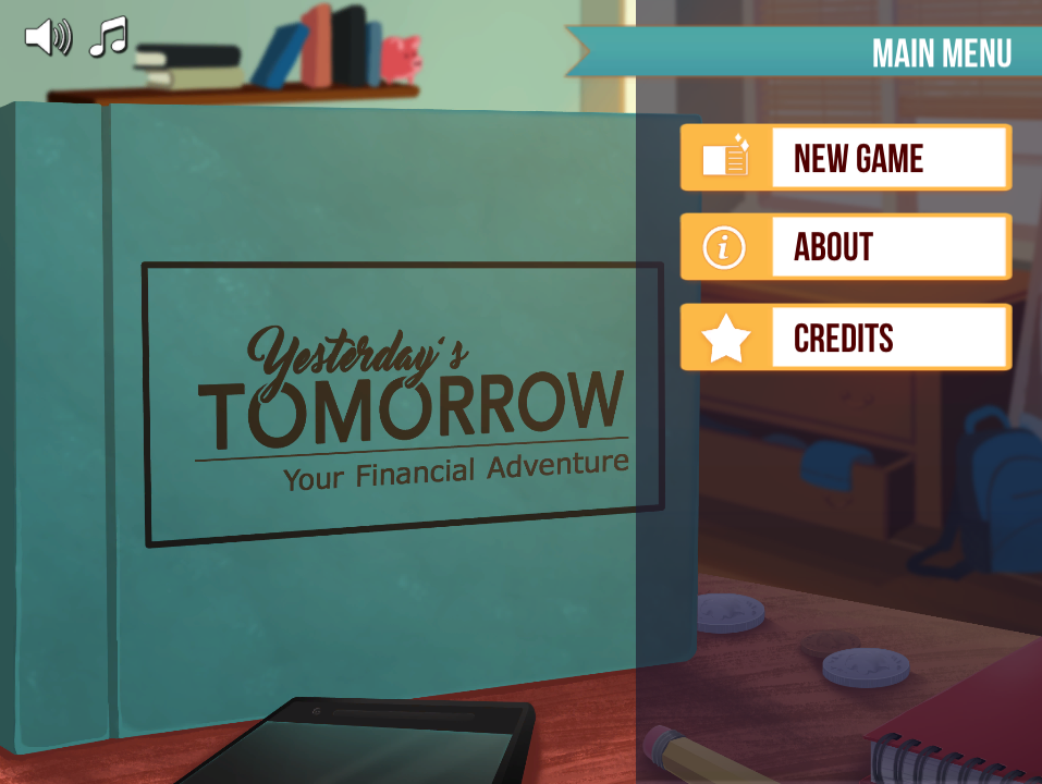 The main menu title screen of the financial savvy game, Yesterday's Tomorrow