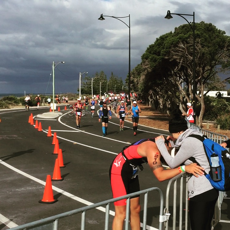 30km into the marathon , Adam looks for support to keep him going