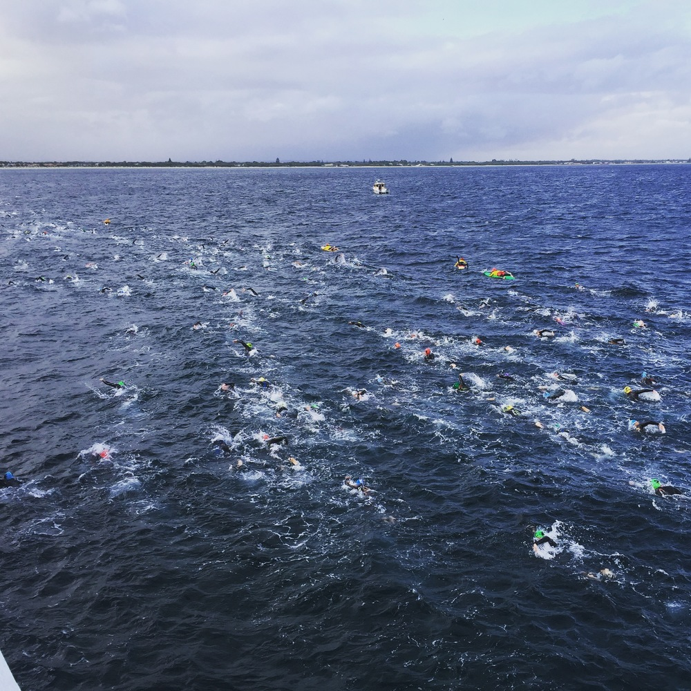 The last 1km of the 4km swim