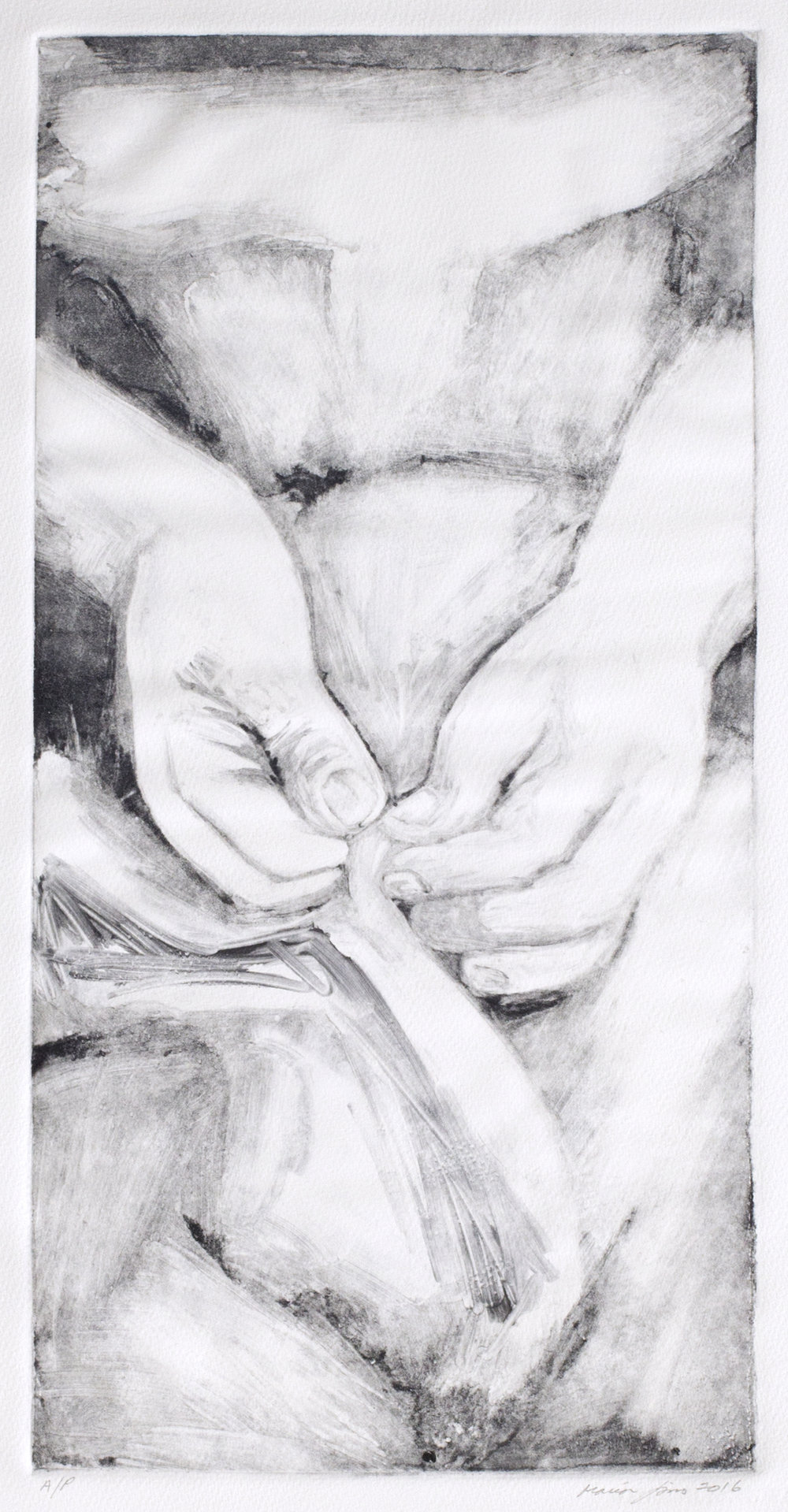 Sewing Hands (ghost print), 2016