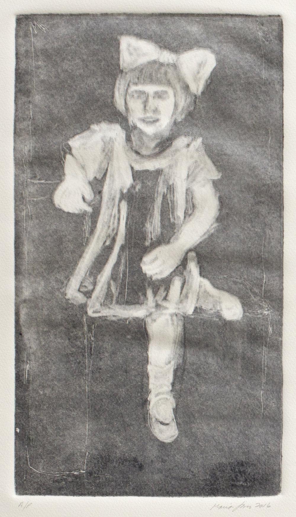 Tia Olga with Bow (Ghost Print), 2016