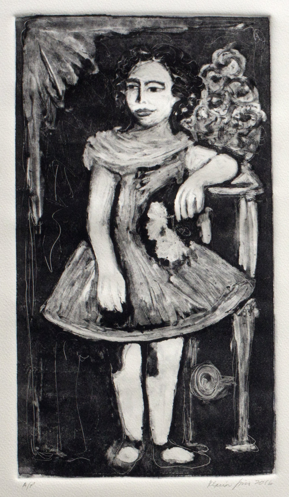 Tia Posing with a Flower (Ghost Print), 2016