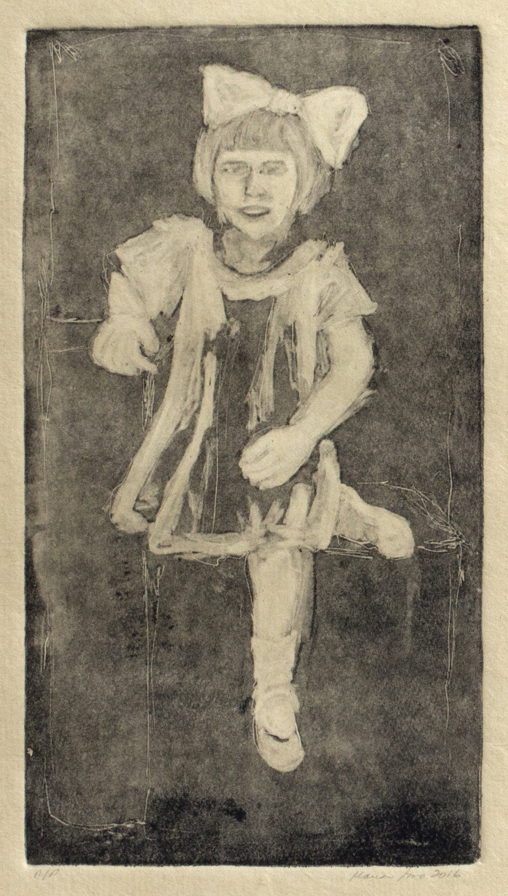 Tia Olga with Bow (Ghost Print on Sepia Paper), 2016