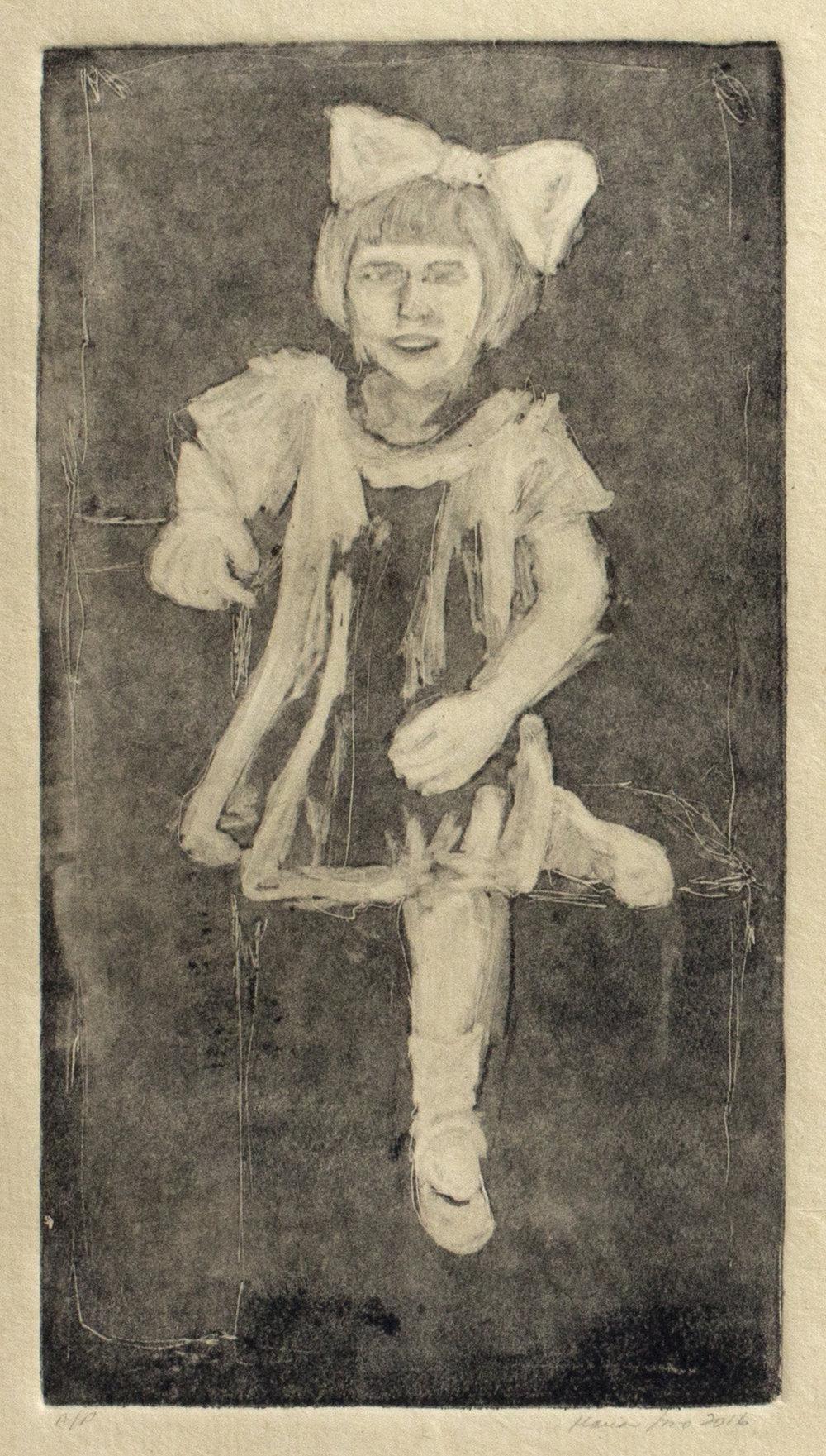 Tia Olga with Bow (Ghost Print on Sepia Paper), 2016