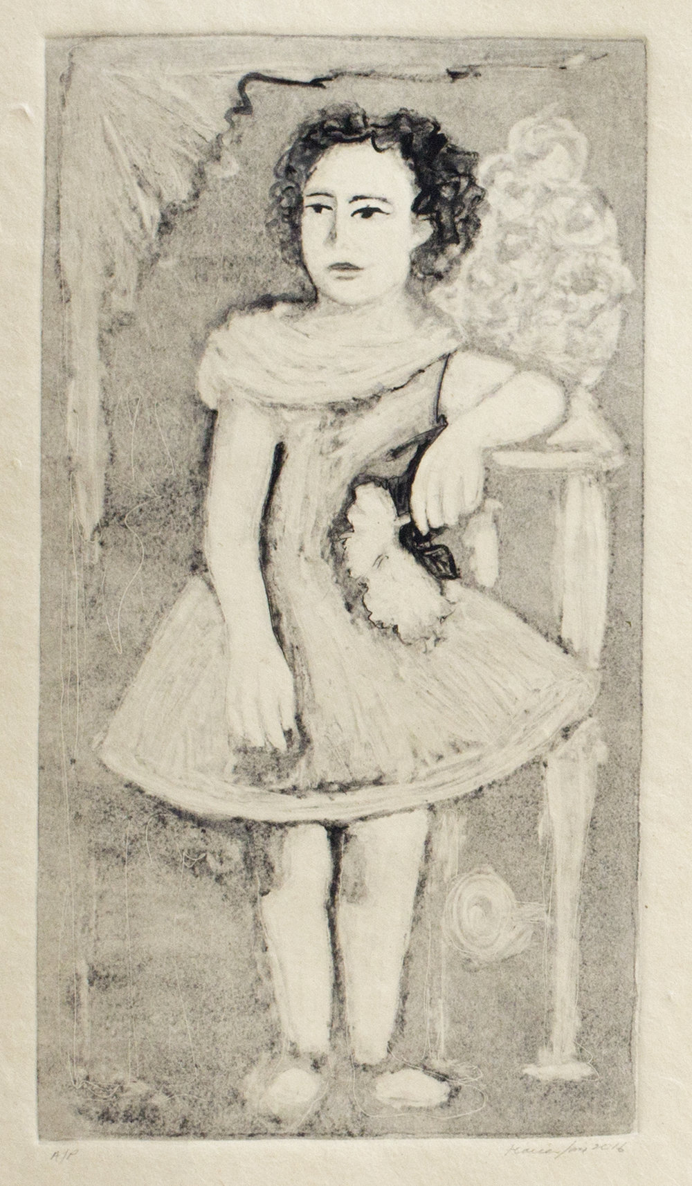 Tia Posing with a Flower (Ghost Print on Sepia Paper), 2016