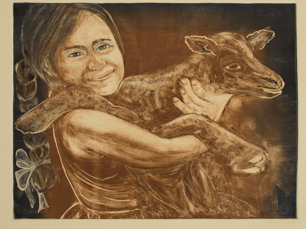 Andean Girl with Lamb