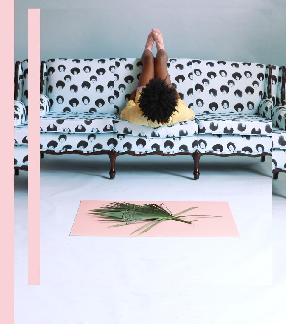 sharlahammond :      Afro Blu     Eco Canvas on Mid Century Sofa    Photo by  Nakeya B .    www.sharlahammond.com