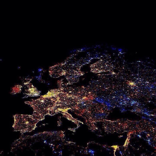 peterfromtexas :     New Year fireworks over Europe as seen from space